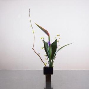 極小花器に、重い花材をバランスを取りながら挿す
