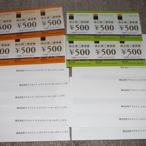 クリレスの優待 18000円分到着も 同数残ってる。