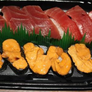カッパ寿司のテイクアウトです。ウニがおいしかったです。