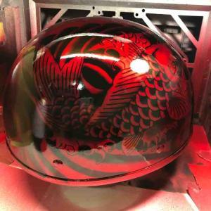 ヘルメットの和柄塗装にキャンディー塗装