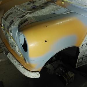 ローバーミニ DIYレストア 左フェンダー塗装