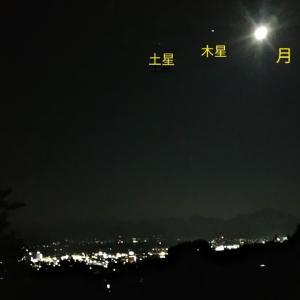 真夏の夕涼み、木星、土星、国際宇宙ステーションの観察
