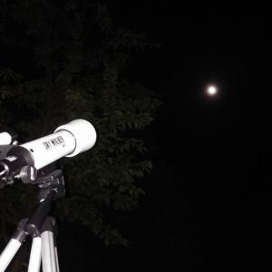 星空観察 ペルセウス座流星群とお月様