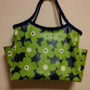 ブルーグリーンのファスナーバッグ