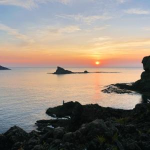 島根町桂島の夕日