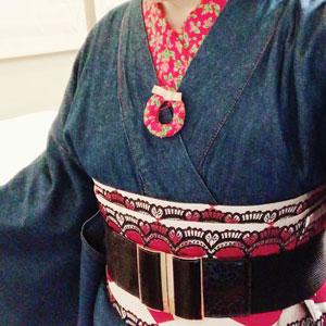 【着物スタイル】デニム着物でXmasスタイル♪