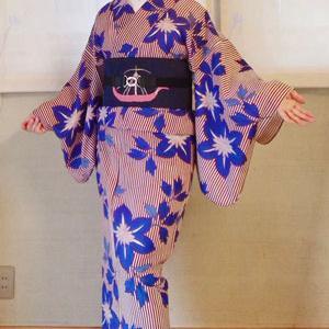6月のキモノスタイル クレマチス柄絽着物と竹麻楊柳着物♪