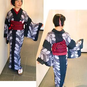 【着物スタイル】雨と暑さで3日間浴衣を着物風に着た9月三嶋大社今昔着物展♪