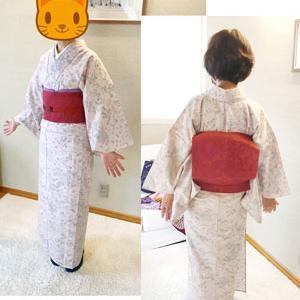 【生徒さんの様子】三嶋大社着物展で買った夏着物と夏帯を着て練習してくれました♪