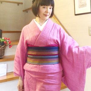 【着物スタイル】暑いとこればっか着ちゃう♪くるりの竹麻楊柳着物