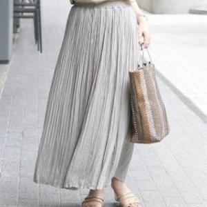 憧れのプリーツスカートは可愛いけど、太ってみえちゃう!○○素材なら大丈夫ですよ。