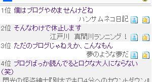 ブログ村の注目記事ランキング(駄)
