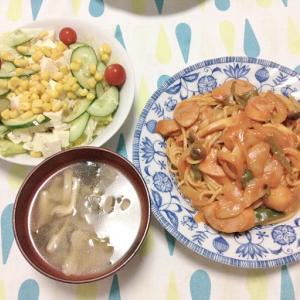 昨日のごはん(ナポリタン&豆腐サラダ)