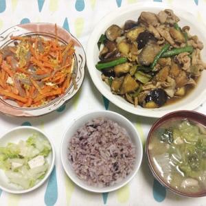 今日のごはん(豚肉と茄子の照り煮&にんじんしりしり&白菜とサラダチキンの和え物)