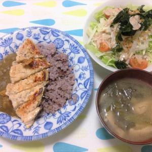 今日のごはん(チキンソテー付きカレー&大根サラダ)