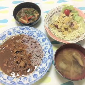 今日のごはん(欧風カレー&さつま芋のサラダ)