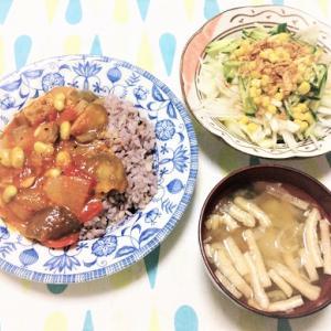 今日のごはん(チキンのトマト煮込み&大根サラダ)