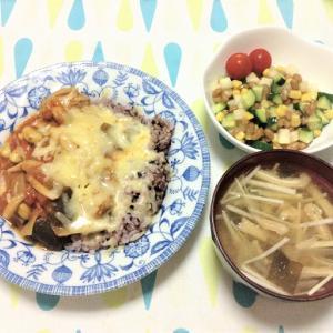 今日のごはん(チキンのトマト煮込み&コロコロサラダ)