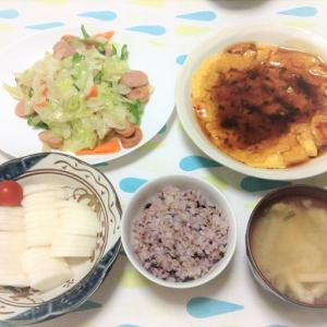 今日のごはん(かに玉&野菜とウインナーの炒め物&ぬか漬け)