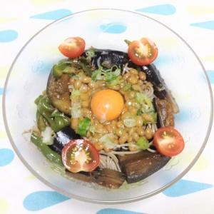 今日のごはん(夏野菜と納豆の冷やし蕎麦)