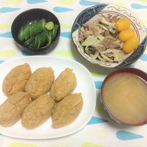 今日のごはん(稲荷蕎麦&肉野菜炒め&ぬか漬け)