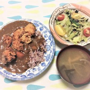 今日のごはん(唐揚げカレー&レタスの海苔鰹サラダ)