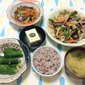 今日のごはん(豚肉と茄子の味噌炒め&冷奴&ぬか漬け)