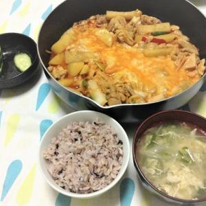 今日のごはん(チーズタッカルビ&卵スープ)