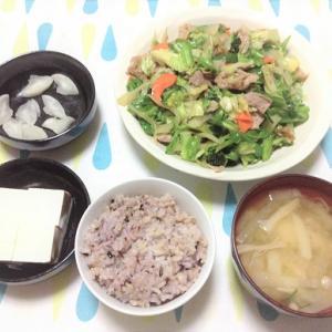 今日のごはん(肉野菜炒め&冷奴)と塩辛いぬか漬け