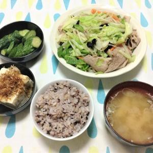 今日のごはん(肉野菜炒め&冷奴&ぬか漬け)