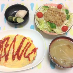 今日のごはん(オムライス&納豆サラダ)