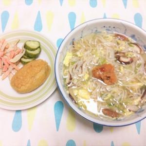 今日のごはん(かきたま梅蕎麦&いなり寿司)