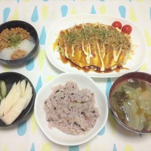 今日のごはん(とん平焼き&梅おろし納豆)