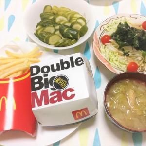 昨日のごはん(マックの倍ビックマック&ポテト&大根サラダ&ぬか漬け)