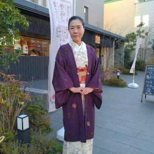 今年最初の奈良へ白地の結城紬で