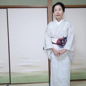 本塩沢の単衣で奈良