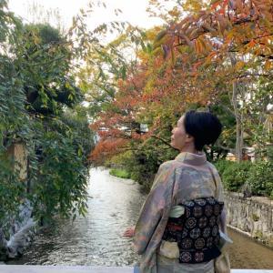 上代紬の訪問着でriyoさんと京都