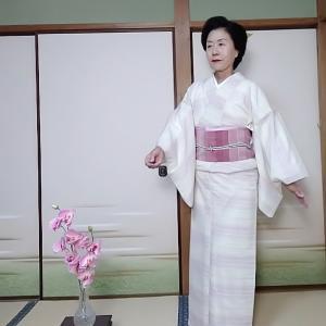 想定きもの 新田の夏紅花で天王寺の渓沢園へ