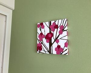 春色ファブリックパネルと桜の樹