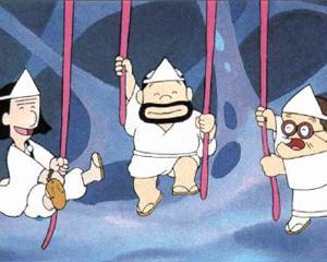 日本昔話で、鬼のお腹でヒモを引っ張るお話し