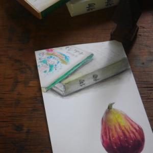 絵手紙交換 〜いちじく と 好きな本〜