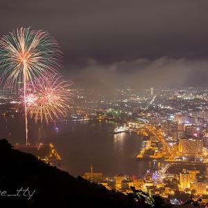 函館夜景と花火(1)