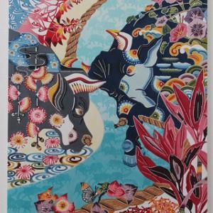 琉球紅型アートワーク【闘牛と沖縄の四季の草花を組み合わせて制作した作品】