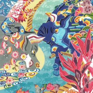 闘牛と沖縄の四季の草花 《琉球紅型アートパネル》