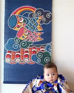 「紅型鯉のぼり」初節句に人気!ママさんに好評です。【沖縄 初節句・端午の節句・五月人形・出産祝い】