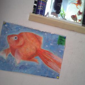 金魚の絵。