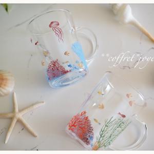 カラフル珊瑚のガラスマグ・・・♪