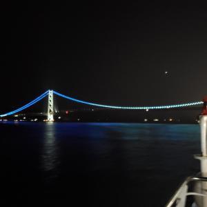 阪九フェリー新造船「せっつ」ロイヤルルーム満喫の旅⑥・明石海峡大橋