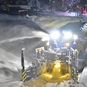 只見線 深夜のロータリー除雪 ENR1000 2020.12.27