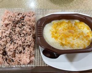 家  赤飯&グラタン